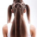 Step 3 - Suddividere i capelli in 5 sezioni. La sezione n.1 a forma di cerchio sulla parte posteriore servirà come centro di tutta l'acconciatura. La sezione n.2 parte dalla sezione 1 e viene separata da linee che vanno a finire sulla sommità delle orecchie. Ora suddividere la parte anteriore in tre parti.
